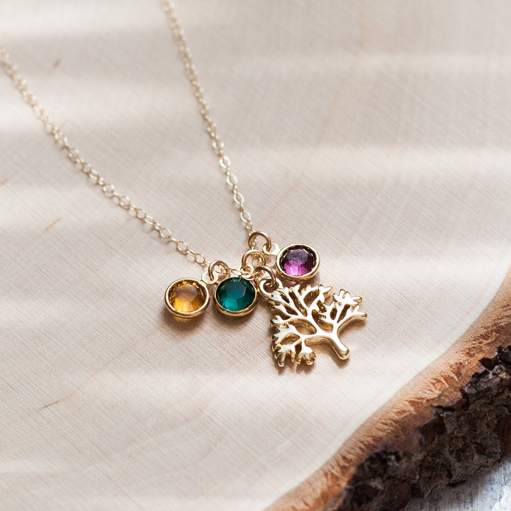 family tree necklace gold tree birthstone mothers day mother. Black Bedroom Furniture Sets. Home Design Ideas