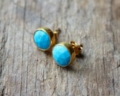Turquoise Stone Stud Earrings