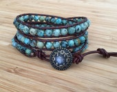CatMar Beaded African Turquoise Wrist Wrap Bracelet with Brown Greek Leather Cord and Antique Bronze Button