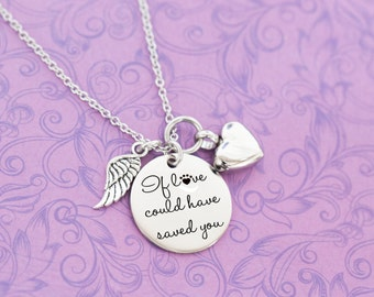 Memorial Pendant with Urn and Angel Wing - Cremation Jewelry - Engraved Jewelry - Urn Necklace - Pet Memorial - If Love Could Have Saved You
