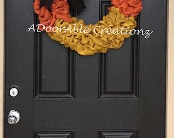 Candy Corn Burlap Wreath, Fall Candy Corn Wreath, Candy Corn Wreath, Fall Wreath