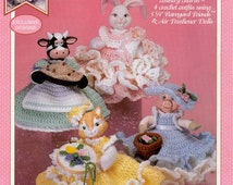 4 Crochet Outfits using Air Freshener Dolls & Barnyard Friends Crochet Pattern, Bunny Kitty Cow Piggy Doll Outfit Instant download PDF- 1041