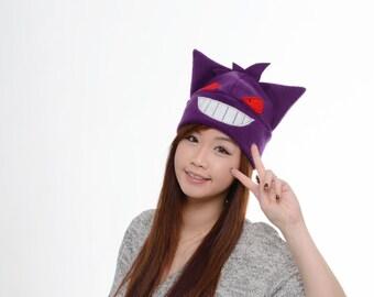 Gengar Fleece Hat - Anime Hat - Manga Hat - Cosplay Convention Hat - Purple Gengar hat - Anime Gengar Hat