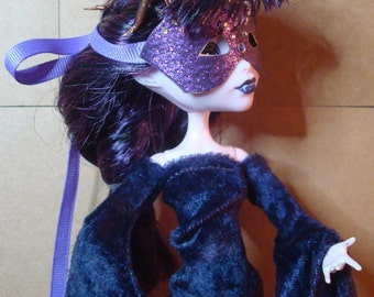 ON HOLD for Witchy Woman Monster High Masquerade Mask Kissed By Purple Classic Venetian Half mask Swarovski crystals OOAK
