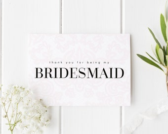 MULTI PACK Pretty Bridesmaid Cards, Thank You For Being My Bridesmaid, Elegant Lace Bridesmaid Card, Maid of Honor, Flower Girl Card, Bride