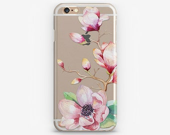 Clear iPhone 7 Case Flower iPhone 8 Plus Case Transparent iPhone X Case Floral iPhone 6 Case iPhone 7 Cover iPhone SE Case Galaxy S8 Plus