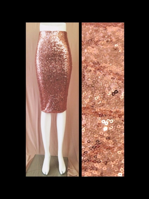 blush pink sequin pencil skirt by sparklemegorgeous on etsy