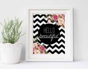 "PRINTABLE Art ""Hello Beautiful"" Typography Poster Typography Art Print Floral Wall Art Floral Art Print Nursery Decor Nursery Art Print"