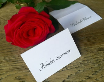 Handwritten Calligraphy Name Cards in Rio font using Black Calligraphy Ink - weddings, conferences, certificate writing, etc.