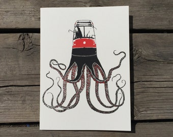 Red Roctopus greeting card