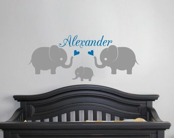 Elephant Wall Decal with Name Vinyl Sticker Nursery Baby Boy Monogram Kids Room Elephant Family Personalized Playroom Cute Animal Art