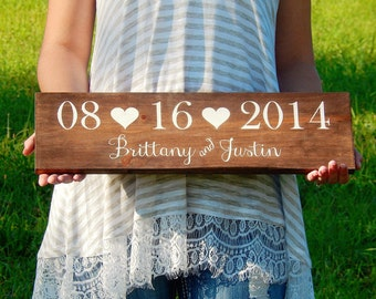 Wedding Date Sign- Bridal Shower Gift- Save the Date Prop- Wedding Name Sign- Wedding Gift- Photo Prop- Rustic Wedding Decor-Engagement Gift