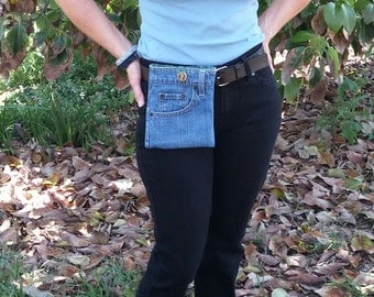 Hip bag denim, belt bag jeans, denim pouch, recycled jeans, travel bag,  jeans purse, small tote bag, cell phone pouch, motorcycle bag   D47