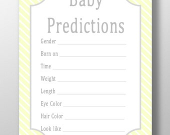 Baby Shower Prediction Cards NEUTRAL