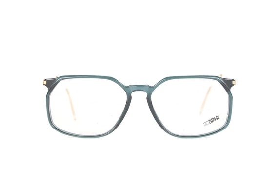 k 246 ln optik square glasses frames green grey vintage vtg gold