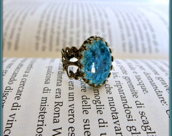 Vintage blue ring, Adjustable filigree ring, Blue ceramic ring, Victorian style blue ring, Vintage ring, Violet ceramic ring, Gift for her