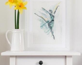 Ballet art, ballerina print, ballet painting, dance gift, bridesmaid art print, best friend gift, bedroom wall art,  giclee print, A4 A3  A2