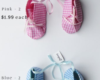 Cloth Baby Booties Ornaments - Pink and Blue - Baby Booties Ornaments - Gingham Pattern