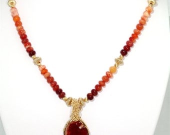 BN056- Mexican Matrix Fire Opal Gold wire sculpted necklace