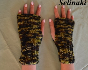 Knit Fingerless Gloves Green Mittens