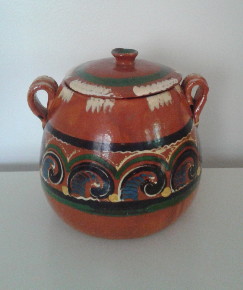 Vintage Mexican Pottery Terra Cotta Clay Olla Lidded Pot Jar
