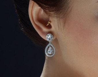 Teardrop wedding earrings Bridal earrings Crystal Wedding earrings Bridal jewelry Bridesmaid gift Bridesmaid  jewelry Zirconia earrings