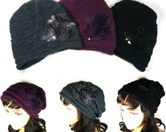 Women Flower Knit Hat Slouch Baggy Beanie Beret Big Large Chiffon Floral Purple Gray Black Color Lady Girl Daily Wear Stylish Fashion Gift