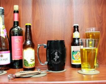 Custom Barrel Mug, Personalized Barrel Mug, Custom Engraved Beer Mug, Personalized Beer Mug L-AlcoholSolution --BM-BL-GoneFishin'