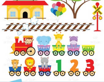 Zoo Train Clipart / Animal Train Clipart / Zoo Clipart / Baby Shower - Instant Download