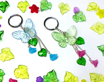 Butterfly Flowers Keychains - Green and Blue