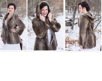 Rabbit fur coat - Rabbit fur jacket - Hooded rabbit fur coat - Winter fur anorak - Mid length rabbit fur coat - Fur coat - Rabbit fur
