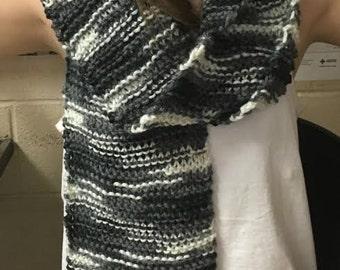 Knit Black/Grey Long Scarf