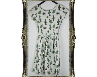 Vintage Inspired Retro Cactus Print Tea Dress