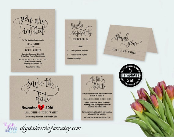 rustic wedding invitation template you are invited wedding. Black Bedroom Furniture Sets. Home Design Ideas