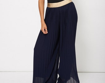 "NER-G ""Oh Palazzo"" Navy Blue Wide Leg Trousers"
