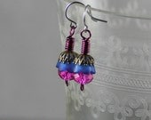 Delicate Vintage Lucite Flower Antiqued Copper Filigree Cap Earrings in Matte Bright Purple and Hot Pink