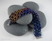 Enso Cuff no. 205 - Wearable Art - One of a Kind - Niobium Chainmaille - eggplant, apricot, violet, indigo - Funds One Loan through Kiva.org