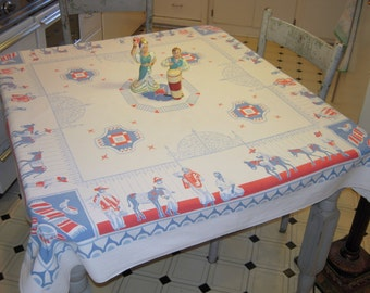 Vintage Mexican Tablecloth RWB Market Day By Wrought Iron Gate