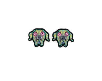 Great Dane Earrings - Floppy Ear Edition - Day of the Dead Sugar Skull Dog Earrings