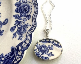 Recycled china pendant. Broken china jewelry necklace pendant beautiful antique blue floral English transferware ecofriendly