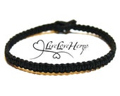 Black Hemp Bracelet - Customizable - Minimalist Bracelet, Simple Hemp Bracelet, Black Bracelet, Grunge Goth Jewelry, Boyfriend Mens Bracelet