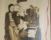 Little Billy's Trip To See Santa Vintage 1948 Black & White Christmas Photo 40's
