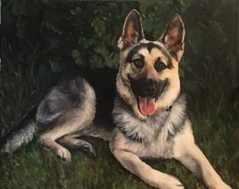 "18""x24"" Custom Pet Portrait - dog portrait - custom painting - dog lover - fine art portrait"