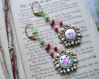 Cottage Chic, Vintage Guilloche Altered Earrings with Real Ruby Gemstone Chain and Mint Chalcedony Vintage Altered Assemblage Earrings