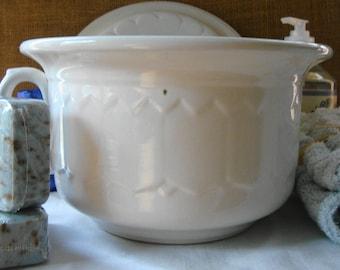 2 Piece ANTIQUE ENGLISH IRONSTONE White Ironstone Champer Pot Covered Ironstone Pot White Ironstone China Warranted Victorian Basin