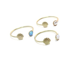 Opal Ring, shell ring, gold shell ring, open ring, pearl ring, beach ring, midi ring, gold rings, stacking rings, double ring, mermaid ring