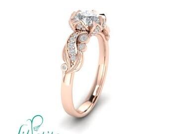 14k rose gold lotus engagement ring inspired by nature leaves moissanite diamond rings - Lotus Wedding Ring