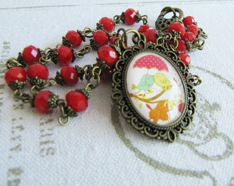 Bird necklace, red beaded necklace, vintage style jewelry, bronze necklace, for her, romantic jewelry, Europe