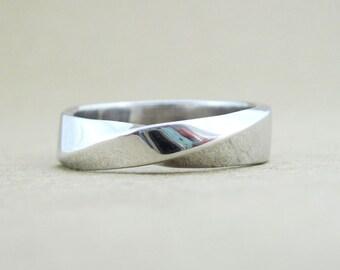 Mobius wedding band, 5.5mm mobius wedding band, mens wedding band, mobius strip ring, gold infinity ring, mobius white gold wedding band