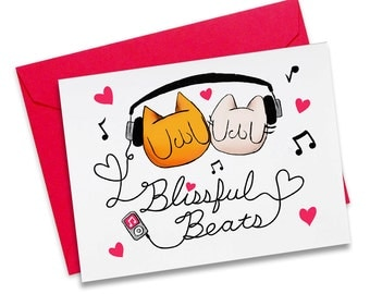 Blissful Beats! Valentine's Day A2 size greeting card